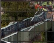 Aerial walkway reflected