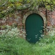Arched green door