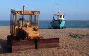 Bulldozer and fishing boat